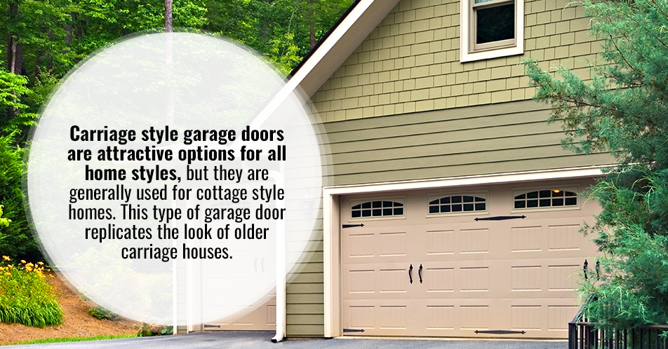 Carriage style garage doors are attractive options for all home styles, but they are generally used for cottage style homes. This type of garage door replicates the look of older carriage houses.