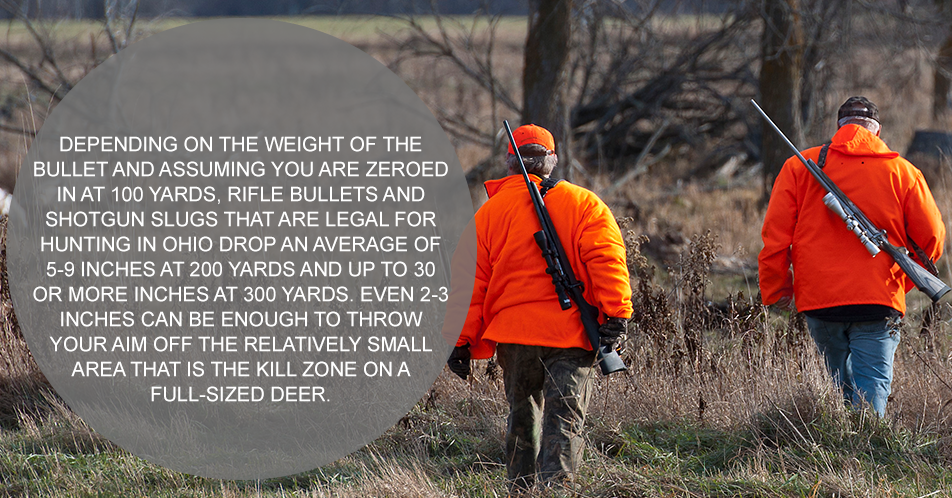 Depending on the weight of the bullet, rifle bullets drop an average of 3.5 inches at 200 yards and up to 30 inches at 400 yards. Even 2-3 inches can be enough to throw your aim off the relatively small area that is the kill zone on a full-sized deer.