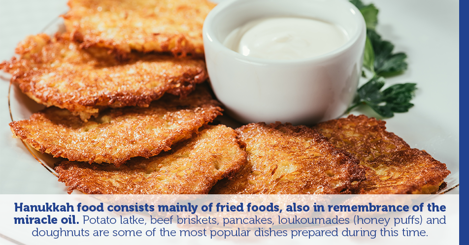 Hanukkah food consists mainly of fried foods, also in remembrance of the miracle oil. Potato latke, beef briskets, pancakes, loukoumades (honey puffs) and doughnuts are some of the most popular dishes prepared during this time.