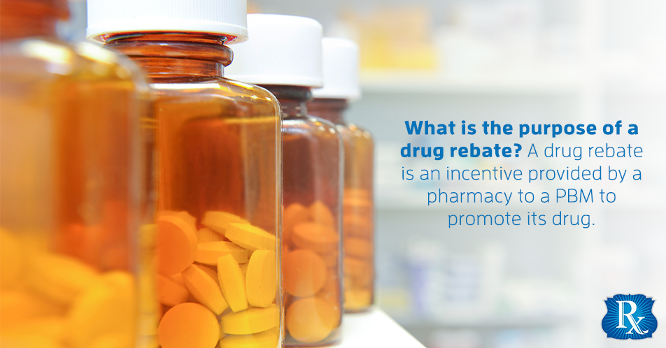 What is the purpose of a drug rebate? A drug rebate is an incentive provided by a pharmacy to a PBM to promote its drug.