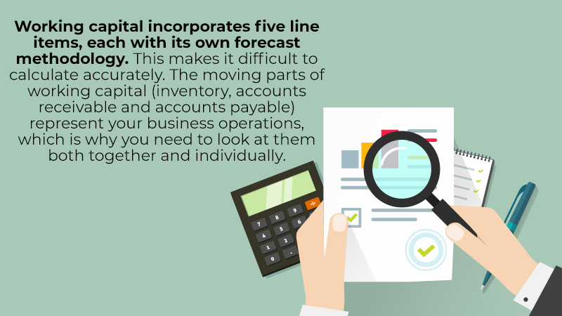 Working capital incorporates five line items, each with its own forecast methodology. This makes it difficult to calculate accurately. The moving parts of working capital (inventory, accounts receivable and accounts payable) represent your business operations, which is why you need to look at them both together and individually.