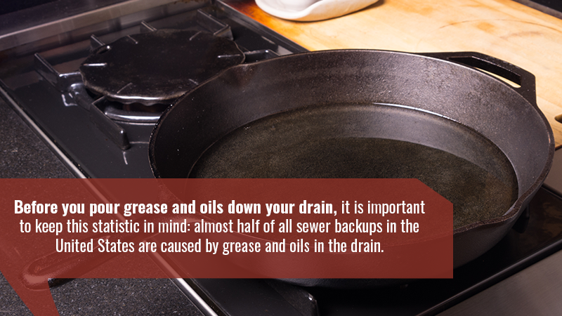 Before you pour grease and oils down your drain, it is important to keep this statistic in mind: almost half of all sewer backups in the United States are caused by grease and oils in the drain.