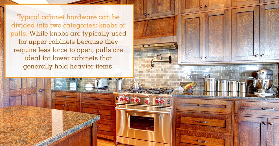 Typical cabinet hardware can be divided into two categories: knobs or pulls. While knobs are typically used for upper cabinets because they require less force to open, pulls are ideal for lower cabinets that generally hold heavier items.