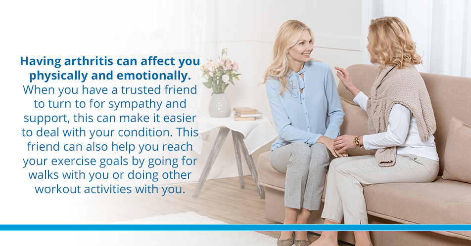 Having arthritis can affect you physically and emotionally. When you have a trusted friend to turn to for sympathy and support, this can make it easier to deal with your condition. This friend can also help you reach your exercise goals by going for walks with you or doing other workout activities with you.