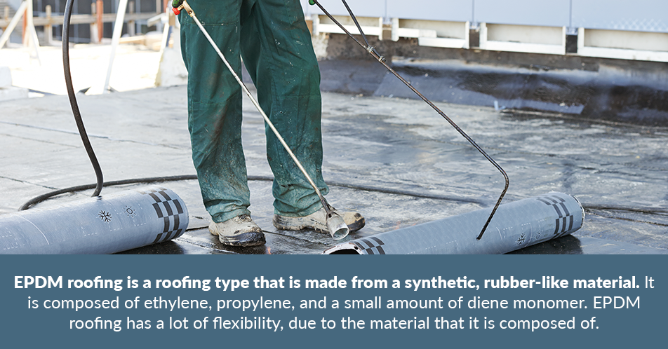 EPDM roofing is a roofing type that is made from a synthetic, rubber-like material. It is composed of ethylene, propylene, and a small amount of diene monomer. EPDM roofing has a lot of flexibility, due to the material that it is composed of.