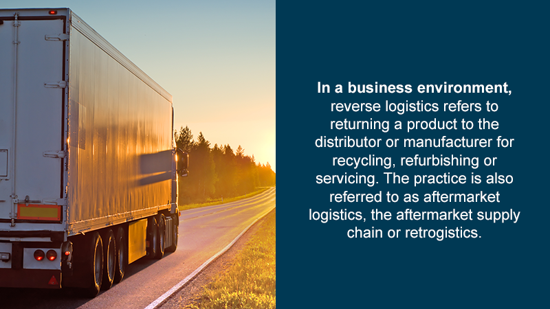 In a business environment, reverse logistics refers to returning a product to the distributor or manufacturer for recycling, refurbishing or servicing. The practice is also referred to as aftermarket logistics, the aftermarket supply chain or retrogistics.