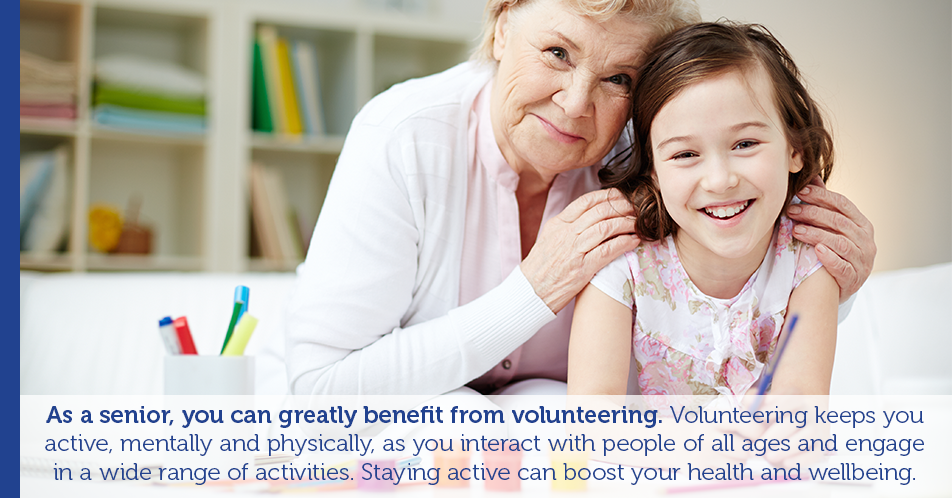 As a senior, you can greatly benefit from volunteering. Volunteering keeps you active, mentally and physically, as you interact with people of all ages and engage in a wide range of activities. Staying active can boost your health and wellbeing.