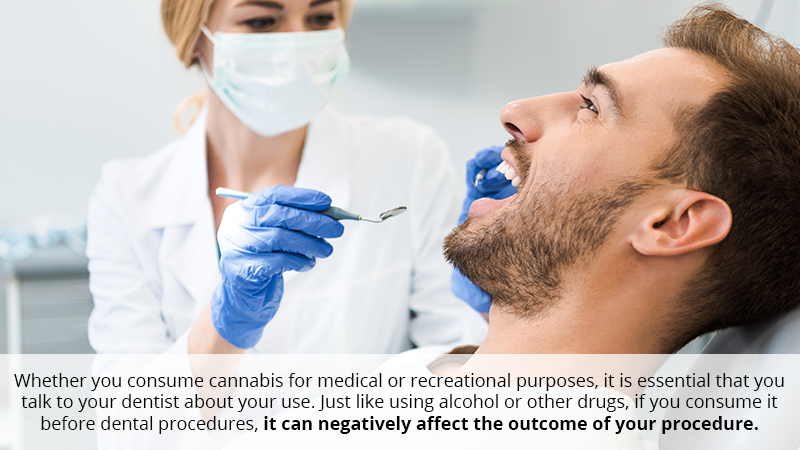 Whether you consume cannabis for medical or recreational purposes, it is essential that you talk to your dentist about your use. Just like using alcohol or other drugs, if you consume it before dental procedures, it can negatively affect the outcome of your procedure.
