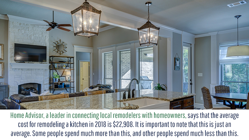 Home Advisor, a leader in connecting local remodelers with homeowners, says that the average cost for remodeling a kitchen in 2018 is $22,908. It is important to note that this is just an average. Some people spend much more than this, and other people spend much less than this.