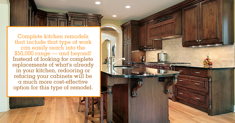 Complete kitchen remodels that include that type of work can easily reach into the $50,000 range — and beyond! Instead of looking for complete replacements of what's already in your kitchen, redooring or refacing your cabinets will be a much more cost-effective option for this type of remodel.