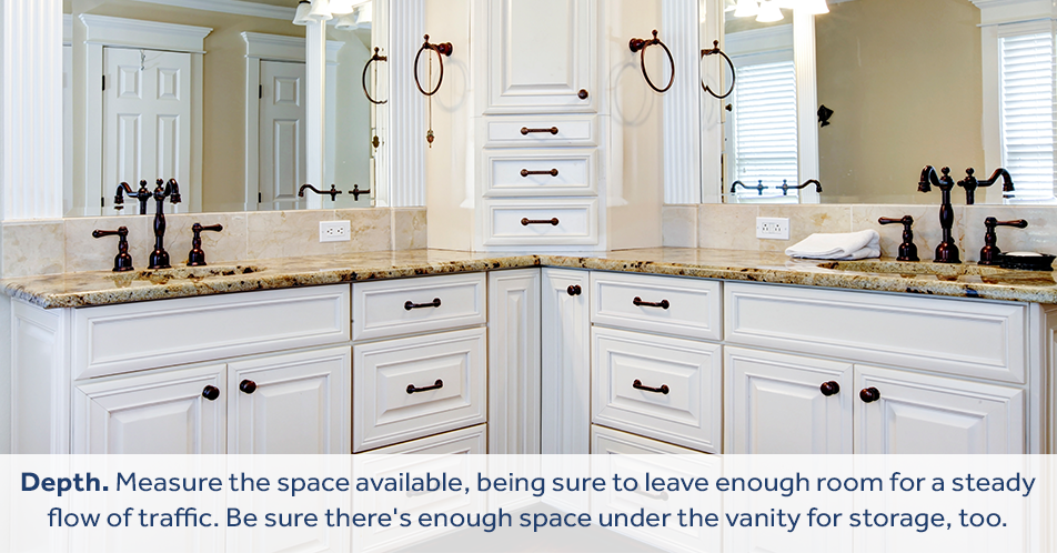 Depth. Measure the space available, being sure to leave enough room for a steady flow of traffic. Be sure there's enough space under the vanity for storage, too.