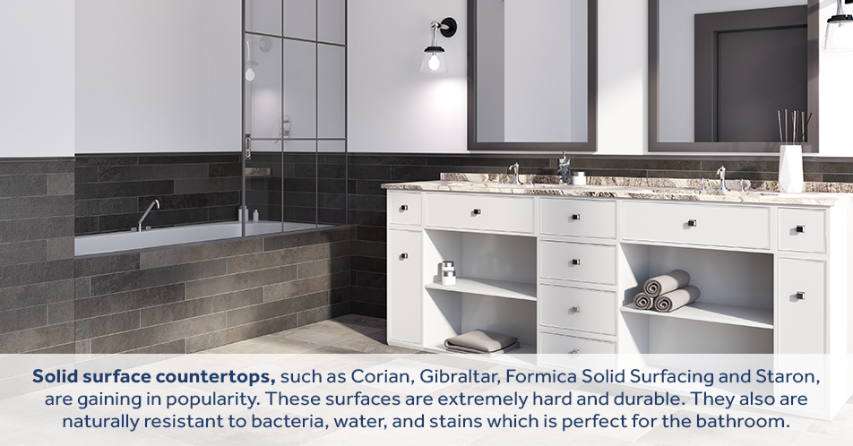 Solid surface countertops, such as Corian, Gibraltar, Formica Solid Surfacing and Staron, are gaining in popularity. These surfaces are extremely hard and durable. They also are naturally resistant to bacteria, water, and stains which is perfect for the bathroom.