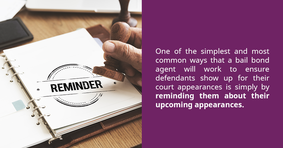 One of the simplest and most common ways that a bail bond agent will work to ensure defendants show up for their court appearances is simply by reminding them about their upcoming appearances.