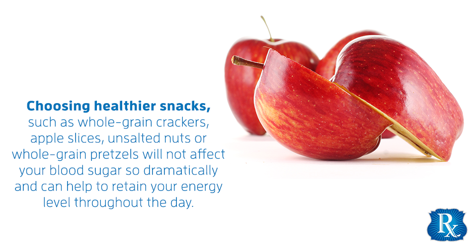 Choosing healthier snacks, such as whole-grain crackers, apple slices, unsalted nuts or whole-grain pretzels will not affect your blood sugar so dramatically and can help to retain your energy level throughout the day.