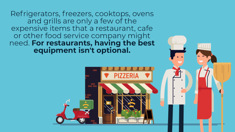 Refrigerators, freezers, cooktops, ovens and grills are only a few of the expensive items that a restaurant, cafe or other food service company might need. For restaurants, having the best equipment isn't optional.