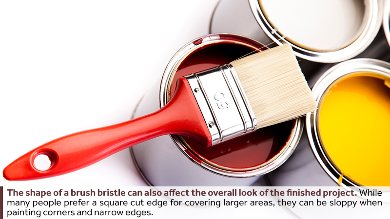 The shape of a brush bristle can also affect the overall look of the finished project. While many people prefer a square cut edge for covering larger areas, they can be sloppy when painting corners and narrow edges.