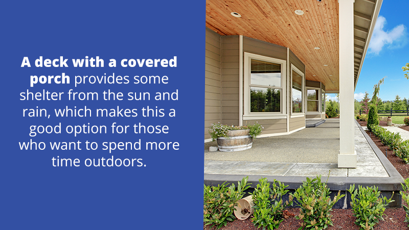A deck with a covered porch provides some shelter from the sun and rain, which makes this a good option for those who want to spend more time outdoors.