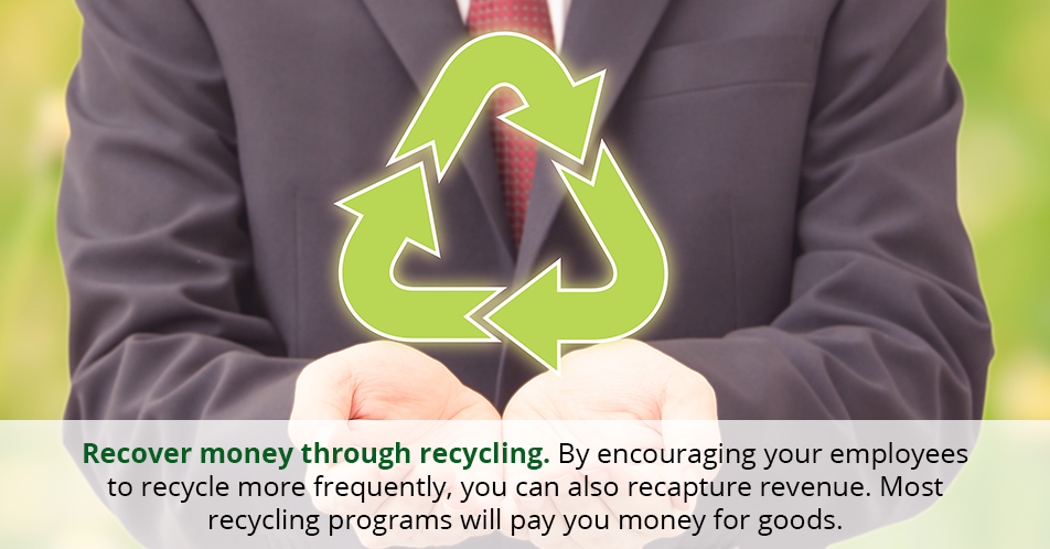 Recover money through recycling. By encouraging your employees to recycle more frequently, you can also recapture revenue. Most recycling programs will pay you money for goods.