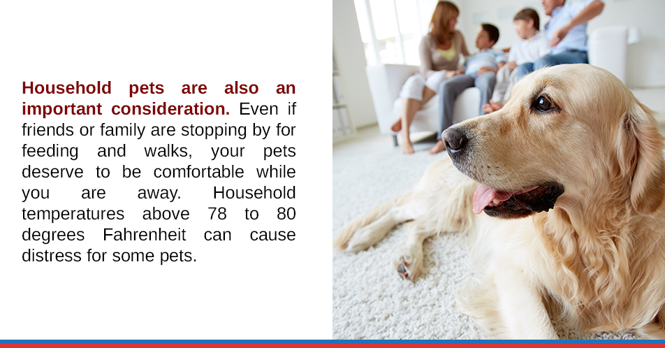 Household pets are also an important consideration. Even if friends or family are stopping by for feeding and walks, your pets deserve to be comfortable while you are away. Household temperatures above 78 to 80 degrees Fahrenheit can cause distress for some pets.