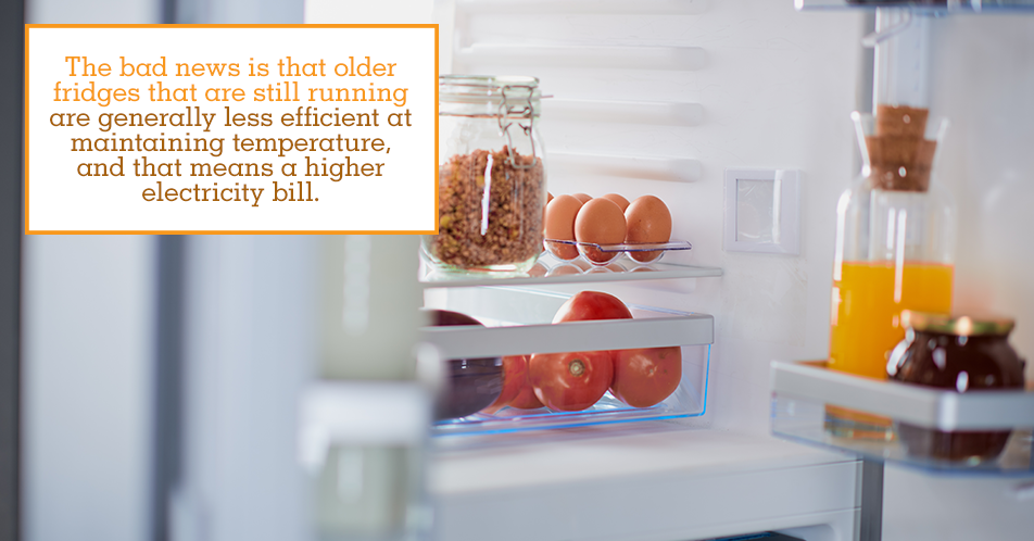 The bad news is that older fridges that are still running are generally less efficient at maintaining temperature, and that means a higher electricity bill.