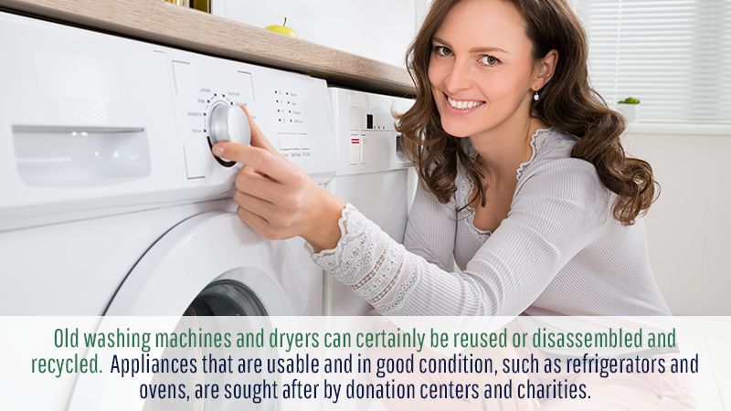 Old washing machines and dryers can certainly be reused or disassembled and recycled. Appliances that are usable and in good condition, such as refrigerators and ovens, are sought after by donation centers and charities.