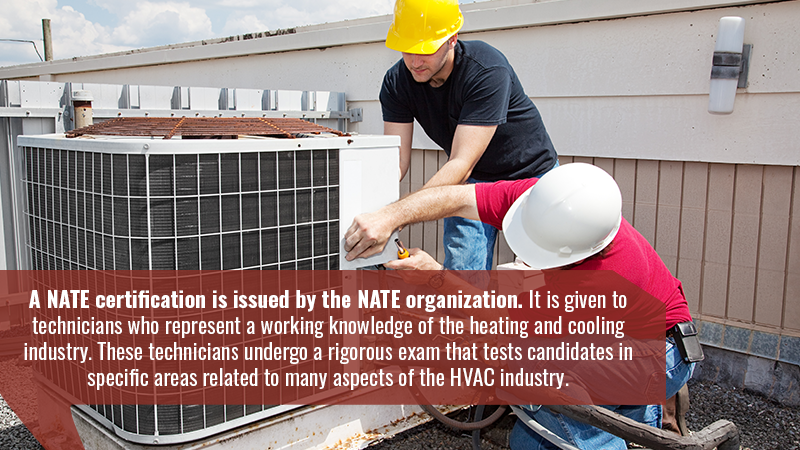 A NATE certification is issued by the NATE organization. It is given to technicians who represent a working knowledge of the heating and cooling industry. These technicians undergo a rigorous exam that tests candidates in specific areas related to many aspects of the HVAC industry.