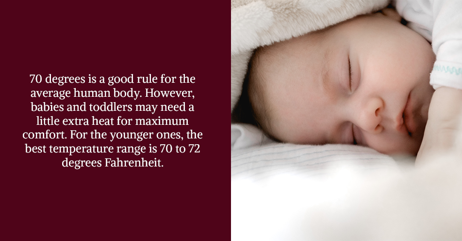 The 60-70 range is a good rule for the average human body. However, babies and toddlers may need a little extra heat for maximum comfort. For the younger ones, the best temperature range is 65 to 70 degrees Fahrenheit.