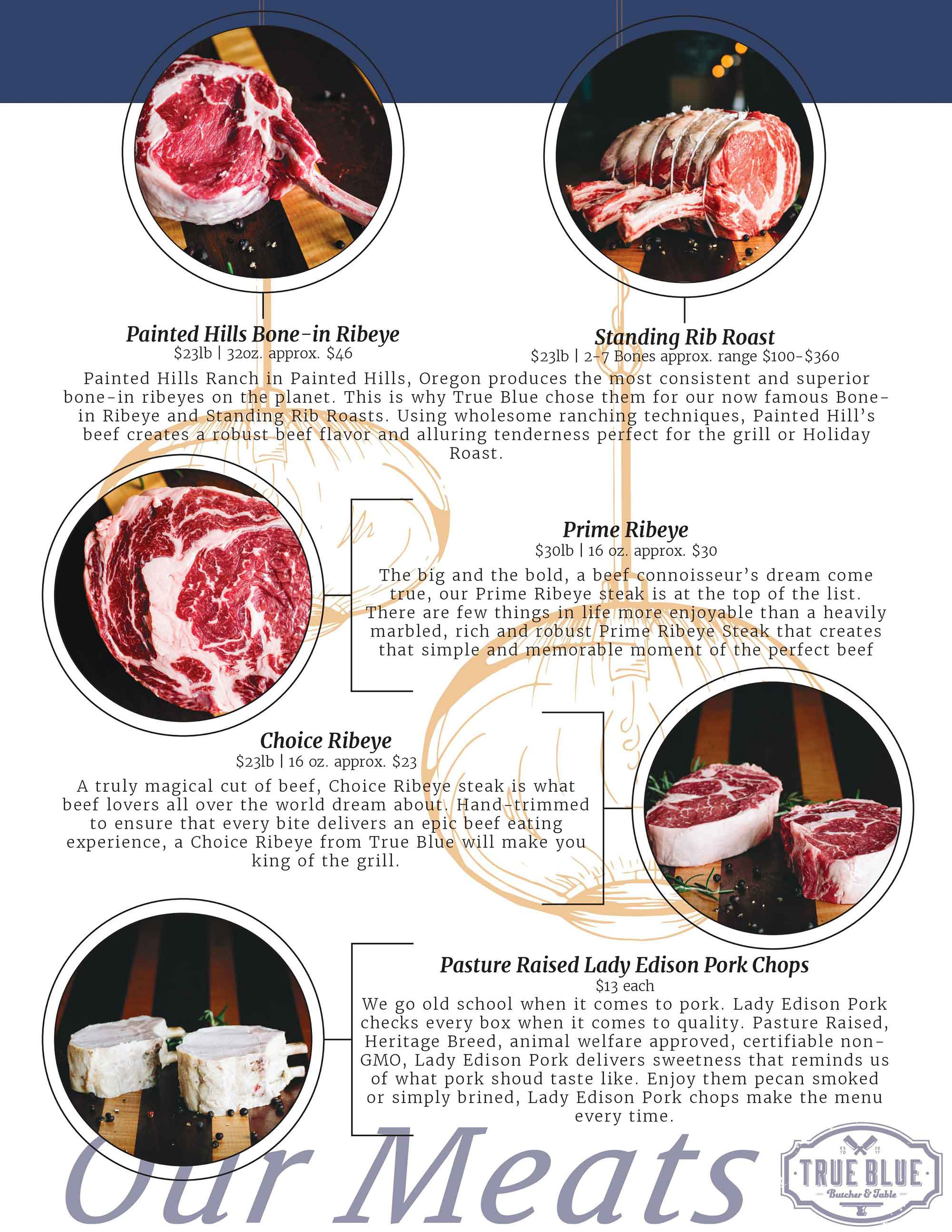 Painted Hills Bone-in Ribeye, Standing Rib Roast, Prime Ribeye, Choice Ribeye, Pasture Raised Lady Edison Pork Chops