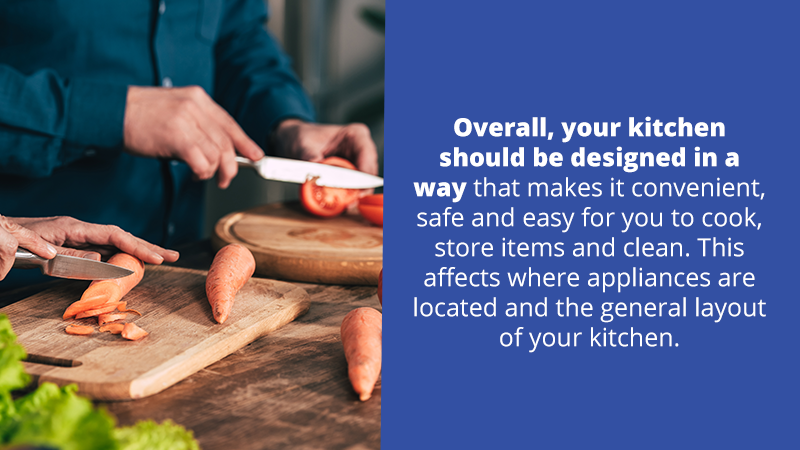 Overall, your kitchen should be designed in a way that makes it convenient, safe and easy for you to cook, store items and clean. This affects where appliances are located and the general layout of your kitchen.