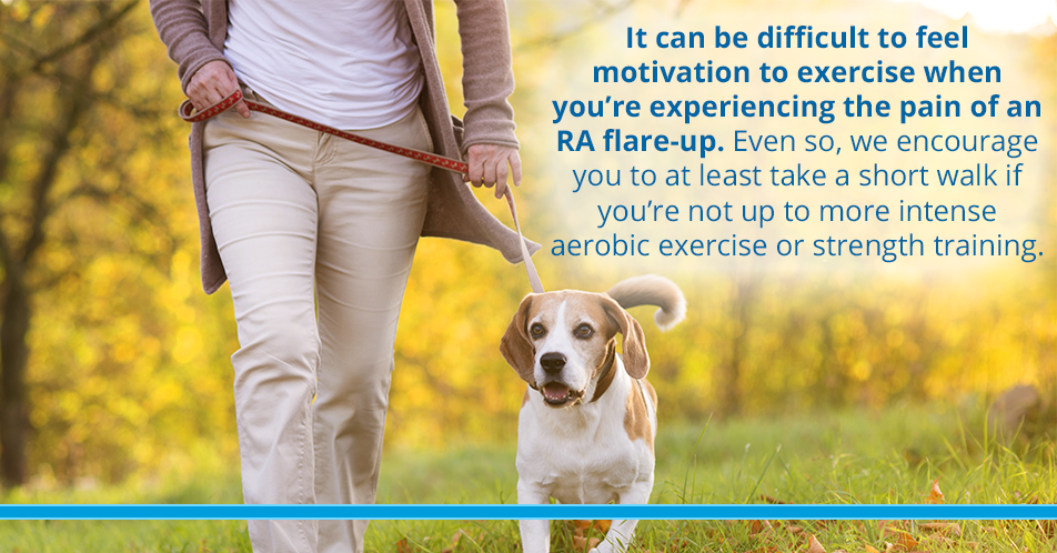 It can be difficult to feel motivation to exercise when you're experiencing the pain of an RA flare-up. Even so, we encourage you to at least take a short walk if you're not up to more intense aerobic exercise or strength training.