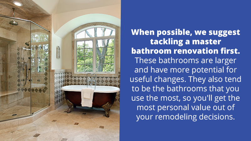 When possible, we suggest tackling a master bathroom renovation first. These bathrooms are larger and have more potential for useful changes. They also tend to be the bathrooms that you use the most, so you'll get the most personal value out of your remodeling decisions.