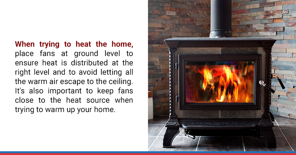 When trying to heat the home, place fans at ground level to ensure heat is distributed at the right level and to avoid letting all the warm air escape to the ceiling. It's also important to keep fans close to the heat source when trying to warm up your home.