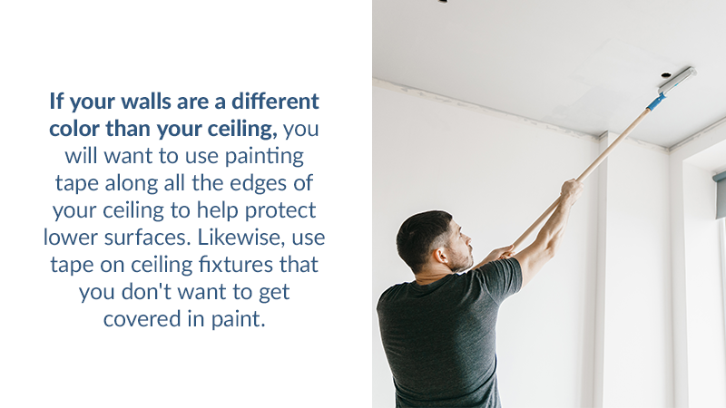 If your walls are a different color than your ceiling, you will want to use painting tape along all the edges of your ceiling to help protect lower surfaces. Likewise, use tape on ceiling fixtures that you don't want to get covered in paint.