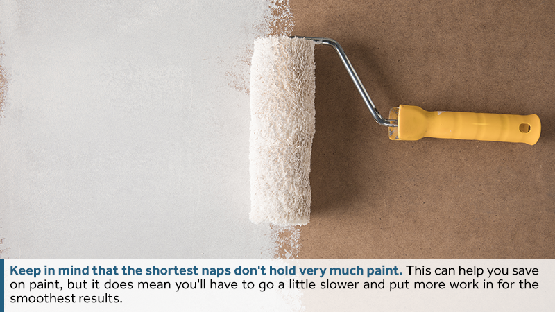keep in mind that the shortest naps don't hold very much paint. This can help you save on paint, but it does mean you'll have to go a little slower and put more work in for the smoothest results.
