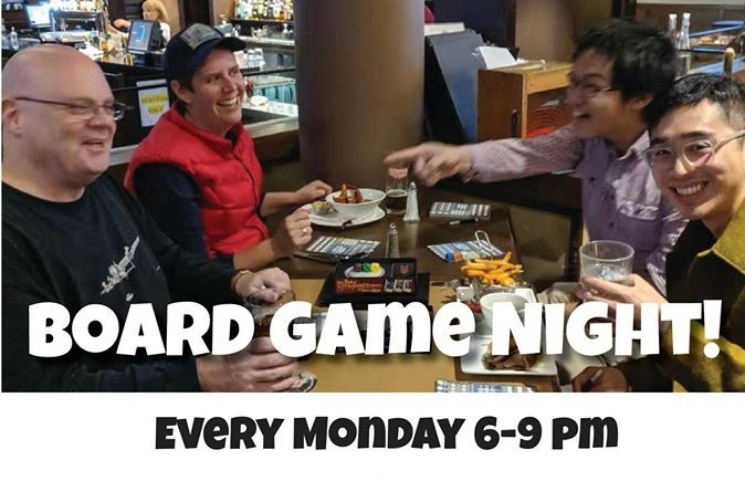 board game night every monday 6 - 9 PM