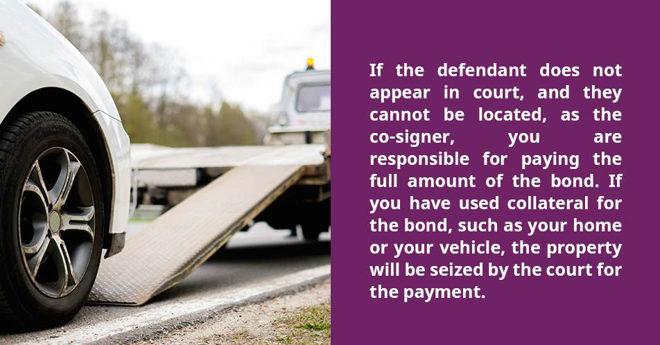 If the defendant does not appear in court, and they cannot be located, as the co-signer, you are responsible for paying the full amount of the bond. If you have used collateral for the bond, such as your home or your vehicle, the property will be seized by the court for the payment.
