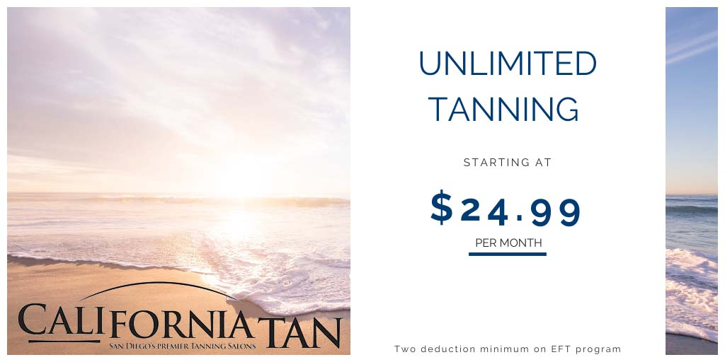 Unlimited tanning starting at 24.99 a month