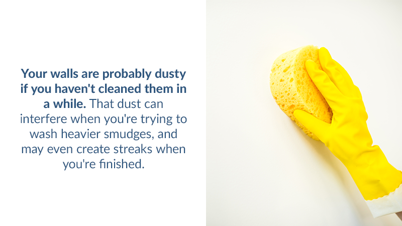 Your walls are probably dusty if you haven't cleaned them in a while. That dust can interfere when you're trying to wash heavier smudges, and may even create streaks when you're finished.