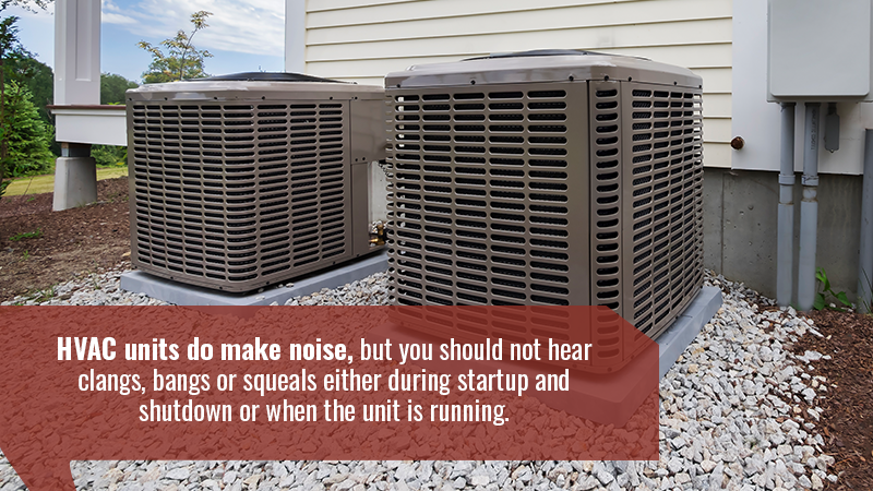 HVAC units do make noise, but you should not hear clangs, bangs or squeals either during startup and shutdown or when the unit is running.
