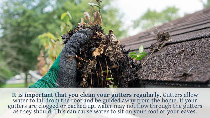 It is important that you clean your gutters regularly. Gutters allow water to fall from the roof and be guided away from the home. If your gutters are clogged or backed up, water may not flow through the gutters as they should. This can cause water to sit on your roof or your eaves.