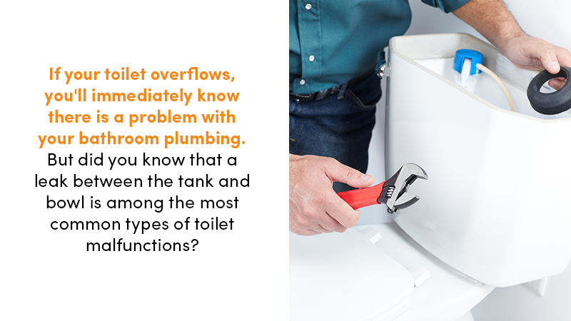 If your toilet overflows, you'll immediately know there is a problem with your bathroom plumbing. But did you know that a leak between the tank and bowl is among the most common types of toilet malfunctions?
