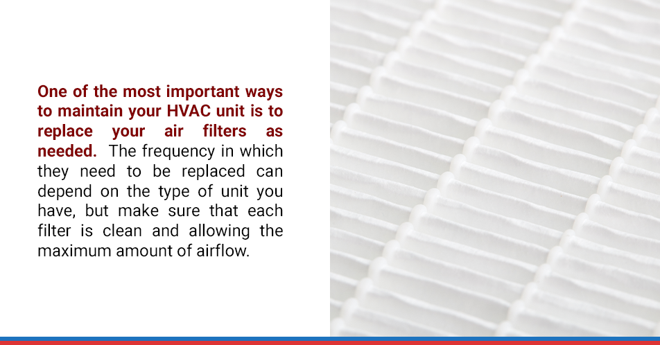 One of the most important ways to maintain your HVAC unit is to replace your air filters as needed. The frequency in which they need to be replaced can depend on the type of unit you have, but make sure that each filter is clean and allowing the maximum amount of airflow.
