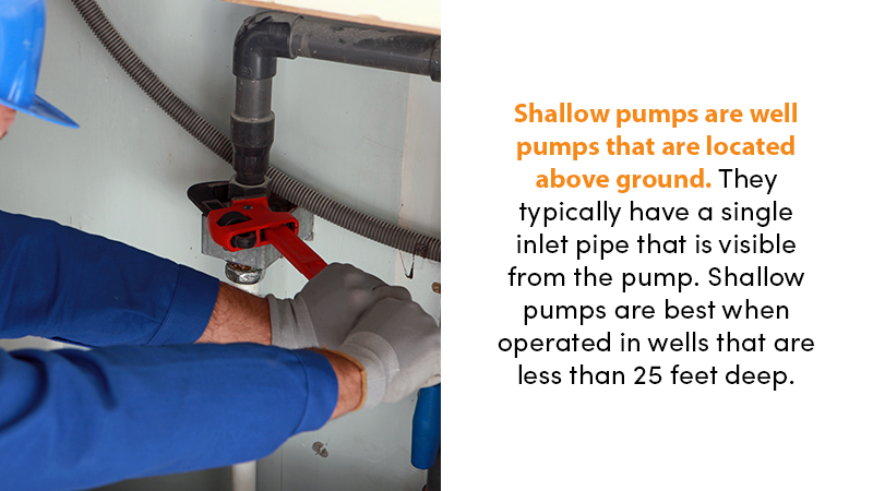 Shallow pumps are well pumps that are located above ground. They typically have a single inlet pipe that is visible from the pump. Shallow pumps are best when operated in wells that are less than 25 feet deep.