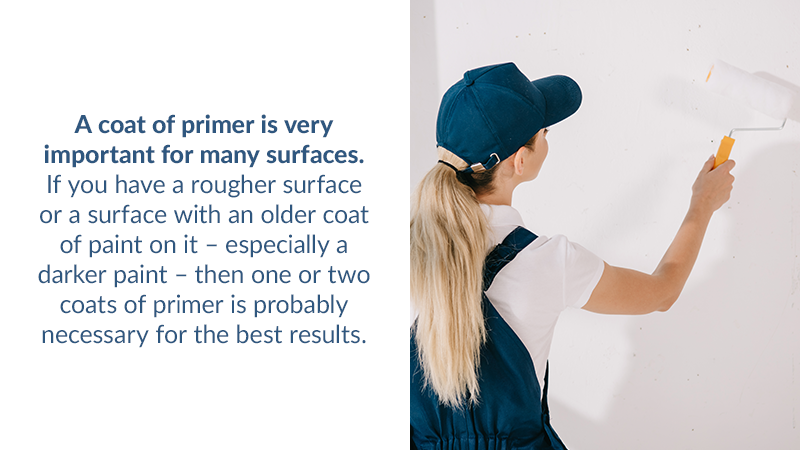 A coat of primer is very important for many surfaces. If you have a rougher surface or a surface with an older coat of paint on it – especially a darker paint – then one or two coats of primer is probably necessary for the best results.