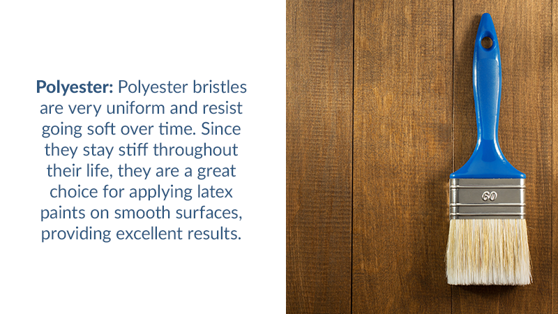 Polyester: Polyester bristles are very uniform and resist going soft over time. Since they stay stiff throughout their life, they are a great choice for applying latex paints on smooth surfaces, providing excellent results.