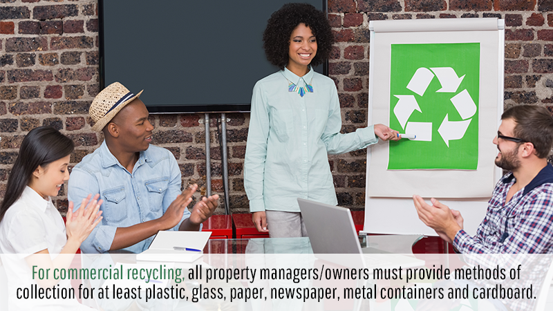 For commercial recycling, all property managers/owners must provide methods of collection for at least plastic, glass, paper, newspaper, metal containers and cardboard.