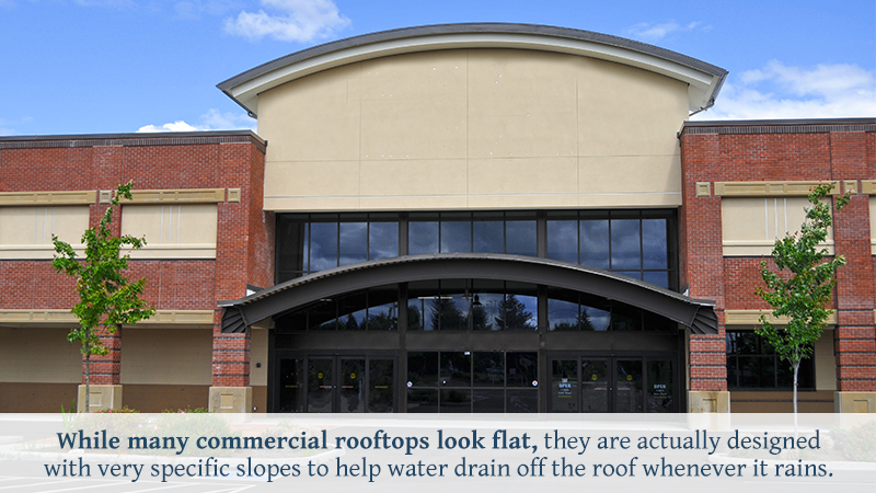 While many commercial rooftops look flat, they are actually designed with very specific slopes to help water drain off the roof whenever it rains.