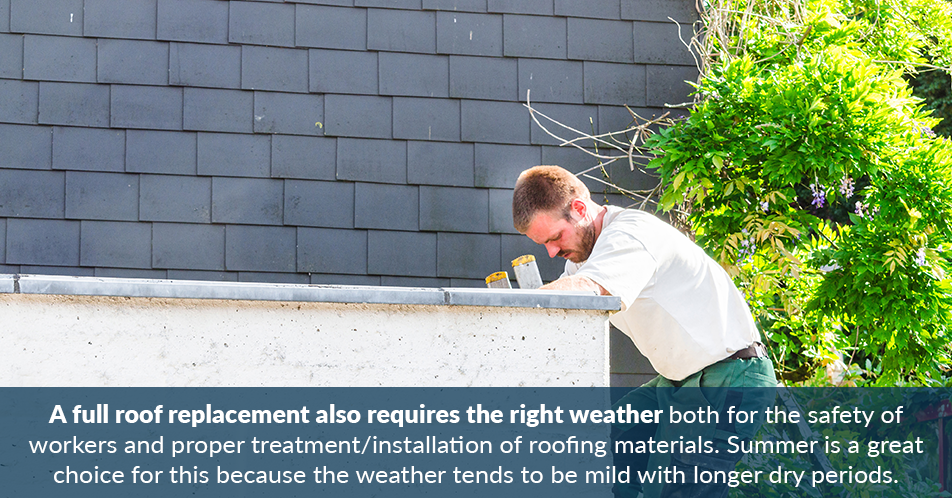 A full roof replacement also requires the right weather both for the safety of workers and proper treatment/installation of roofing materials. Summer is a great choice for this because the weather tends to be mild with longer dry periods.