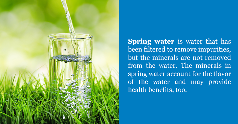 Spring water is water that has been filteredto remove harmful bacteria or other impurities harmful to humans, but the minerals are not removed from the water. The minerals in spring water account for the flavor of the water and may provide health benefits, too.