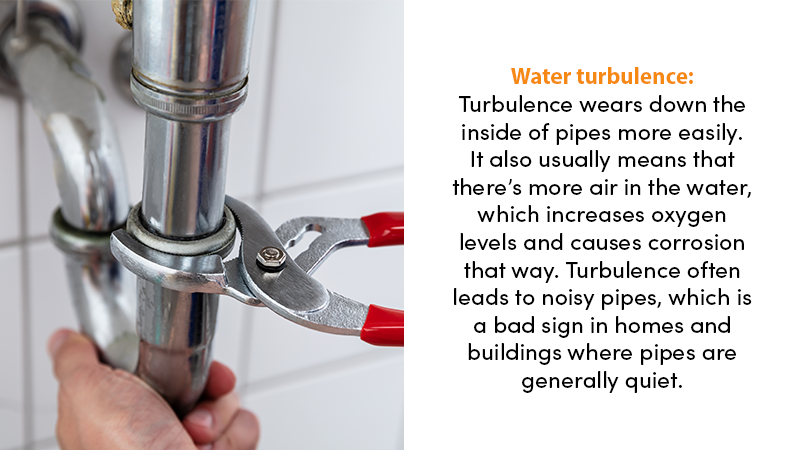 Water turbulence: Turbulence wears down the inside of pipes more easily. It also usually means that there's more air in the water, which increases oxygen levels and causes corrosion that way. Turbulence often leads to noisy pipes, which is a bad sign in homes and buildings where pipes are generally quiet.